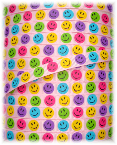 3/8 SMILEY FACE & FLOWERS PINK - 5 YARDS