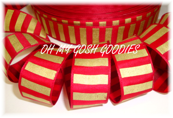 7/8 RED GOLD VERTICAL STRIPE - 5 YARDS