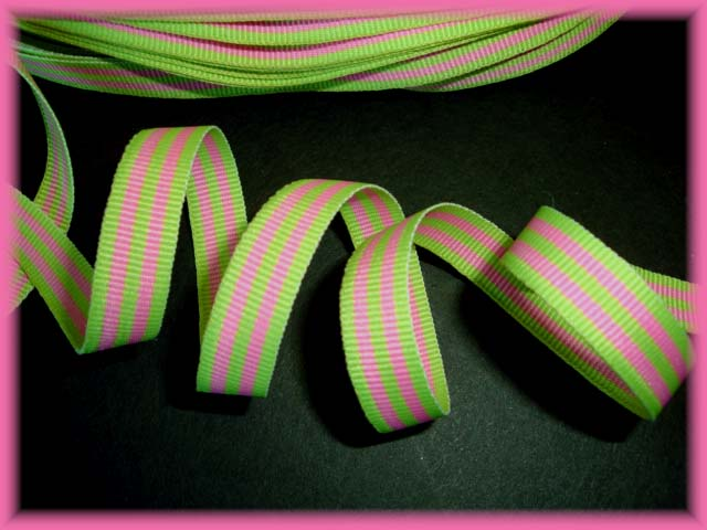 3/8 OOAK PINK LIME MINI STRIPE - 9 1/2 REMNANT YARDS