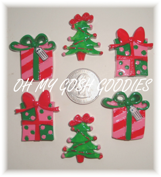 3PC CHRISTMAS PRESENT RESINS - 2 POLKA DOT / 1 STRIPE