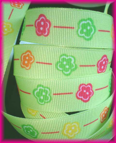 5/8 RETRO DAISY PINK LIME ORANGE LIME - 5 YARDS