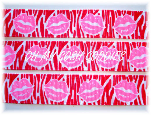 7/8 RIBBON KISSES RED ZEBRA PINK LIPS - 5 YARDS