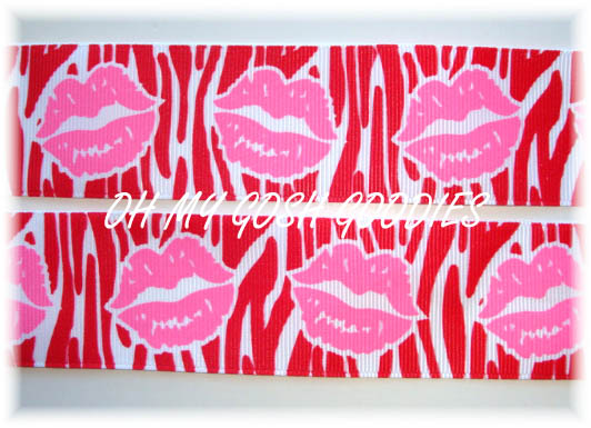 1.5 RIBBON KISSES RED ZEBRA PINK LIPS - 5 YARDS