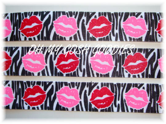 7/8 RIBBON KISSES BLACK ZEBRA PINK/RED LIPS - 5 YARDS
