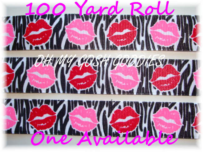 7/8 RIBBON KISSES BLACK ZEBRA PINK RED LIPS - 100 YARD ROLL