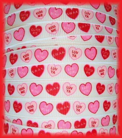3/8 OOAK CONVERSATION HEARTS RED - 5 1/3 REMNANT YARDS
