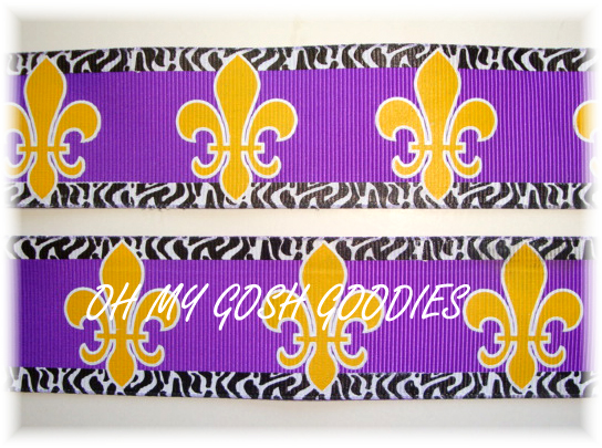 1.5 OOAK OH SO FABULOUS FLEUR DE LIS PURPLE/GOLD   -3 YARDS