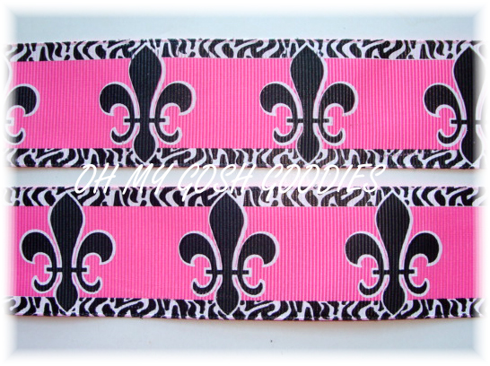 1.5 OH SO FABULOUS FLEUR DE LIS HOT PINK/BLACK - 5 YARDS