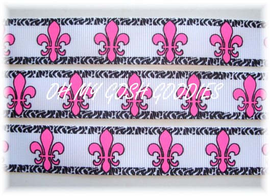 7/8 OH SO FABULOUS FLEUR DE LIS WHITE/PINK/BLACK - 5 YARDS