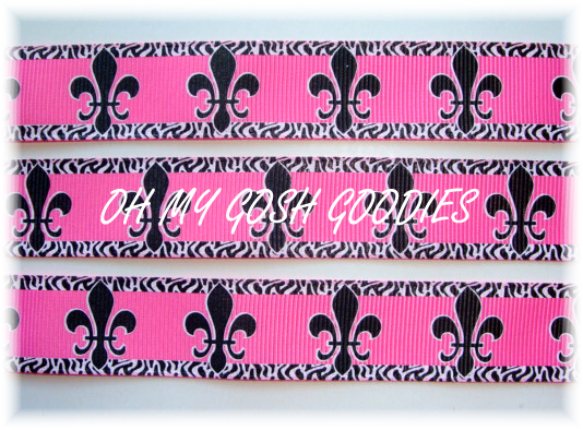 7/8 OH SO FABULOUS FLEUR DE LIS HOT PINK/BLACK - 5 YARDS
