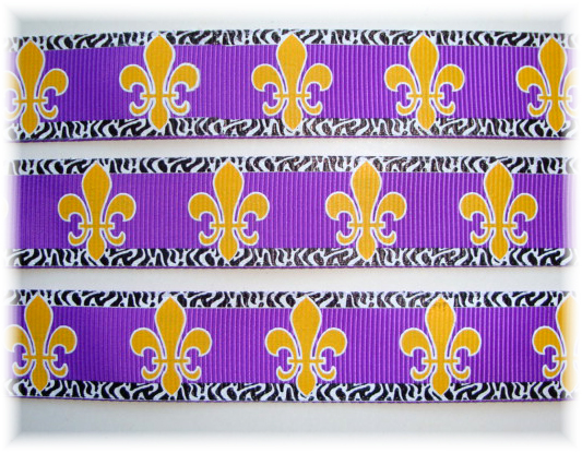 7/8 OH SO FABULOUS FLEUR DE LIS PURPLE/GOLD - 5 YARDS