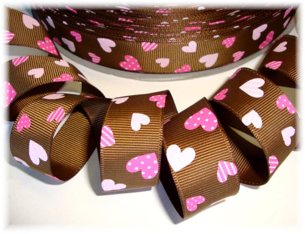 7/8 PINK CHOCOLATE HEARTS - 5 YARDS