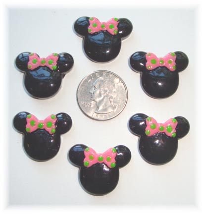 2PC MINNIE 2 PINK/LIME BOW RESIN