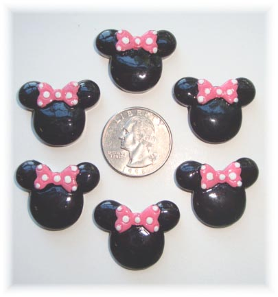 2PC MINNIE 2 PINK BOW RESIN