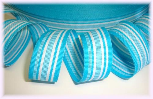 7/8 TURQUOISE MIAMI WAVE STRIPE - 5 YARDS