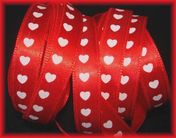 3/8 RED SATIN HEARTS - OOAK - 50+ YARDS