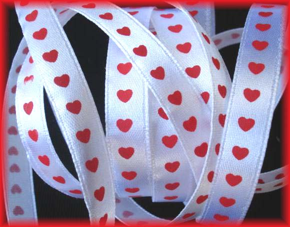 3/8 OOAK WHITE RED SATIN HEARTS -  36 YARDS