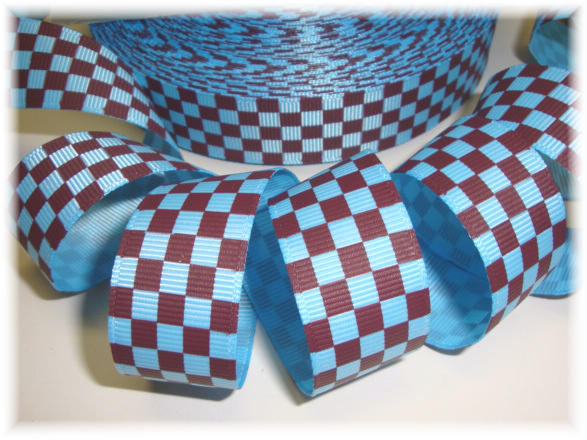 7/8 OOAK BLUE BROWN CHECKER - 2 1/2 YARDS