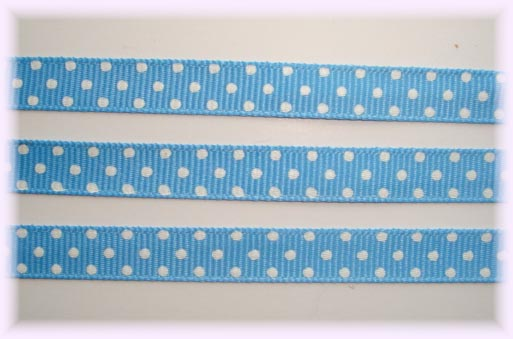 3/8 COPEN BLUE WHITE SWISS DOTS - 5 YARDS