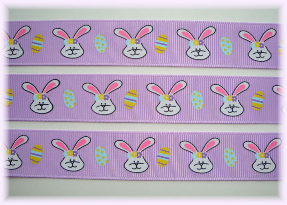 7/8 LAVENDER HIP HOP EASTER BUNNIES - 5  YARDS