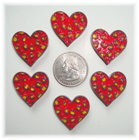 2PC RED LEOPARD HEART RESINS