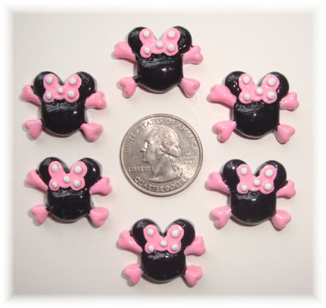 2PC MINNIE PINK SKULL RESINS