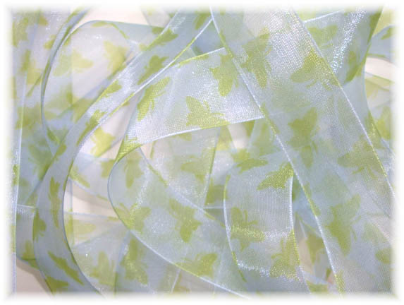 7/8 SHEER VINTAGE BUTTERFLY RIBBON BLUE LIME - 70 YARDS