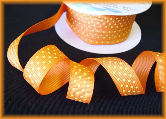 5/8 HALLOWEEN OFFRAY ORANGE YELLOW SWISS DOTS - 5 YARDS