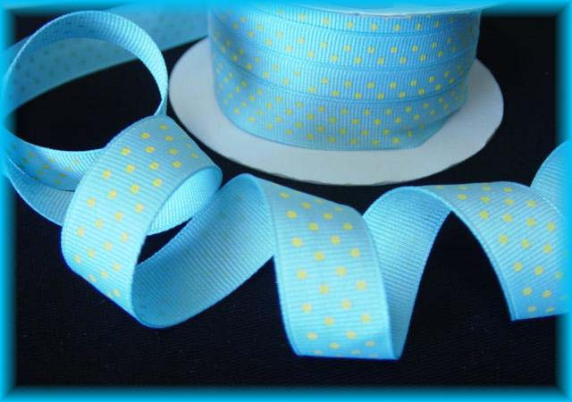 5/8 EASTER OFFRAY BLUE YELLOW SWISS DOTS - 5 YARDS