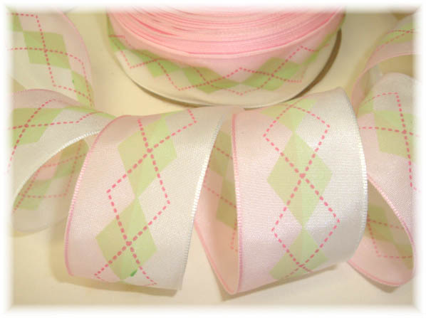 1.5 EASTER OFFRAY ARGYLE PINK MINT - 5 YARDS