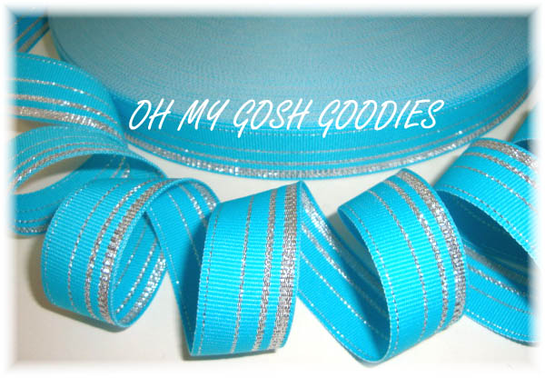 7/8 TURQUOISE PRINCESS SILVER STRIPE - 5 YARDS