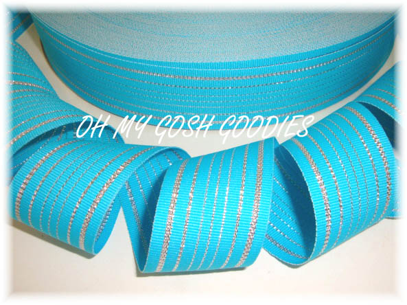 1.5 TURQUOISE PRINCESS SILVER STRIPE - 5 YARDS