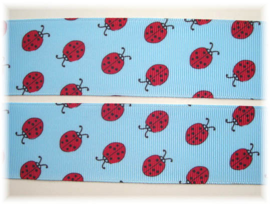 1.5 SALE BLUE RED LADYBUGS - 5 YARDS