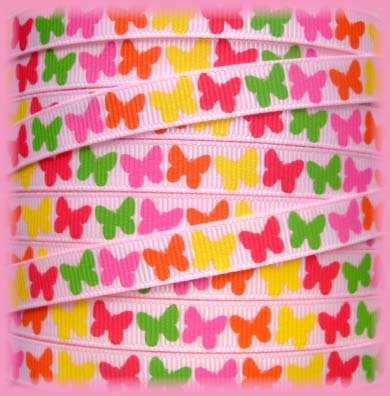 3/8 SOCIAL BUTTERFLY BITTY BABIES PINK - 5 YARDS