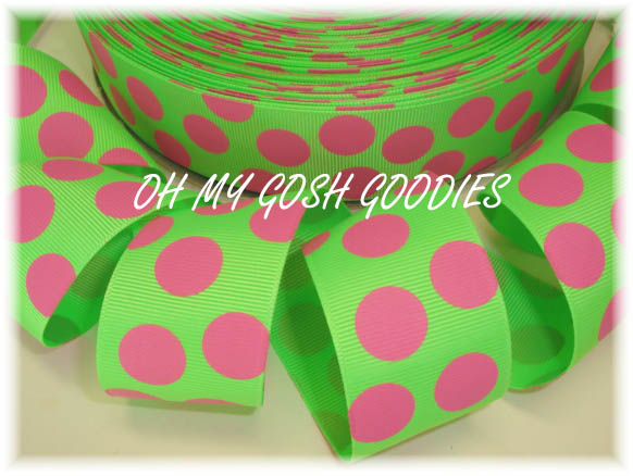 1.5 LIME/HOT PINK JUMBO DOTS - 5 YD