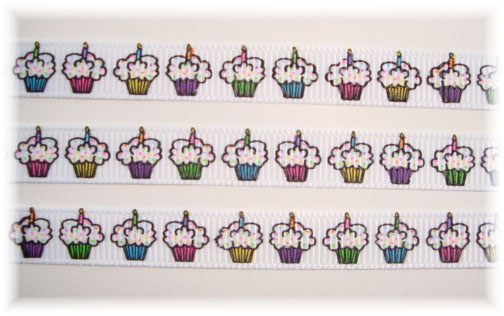 3/8 SALE HAPPY BIRTHDAY PARTY CUPCAKES - 100 YARD ROLL