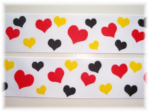 1.5 MAGIC HEARTS RED YELLOW BLACK - 5 YARDS