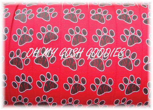 7/8 TIGER PRINT PAWS RED /BLK - 5 YARDS