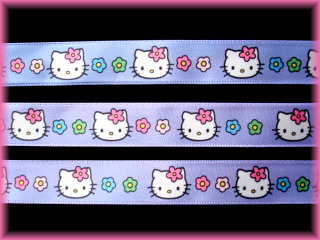 5/8 LICENSED HELLO KITTY SANRIO LAV SATIN  - 5 YARDS