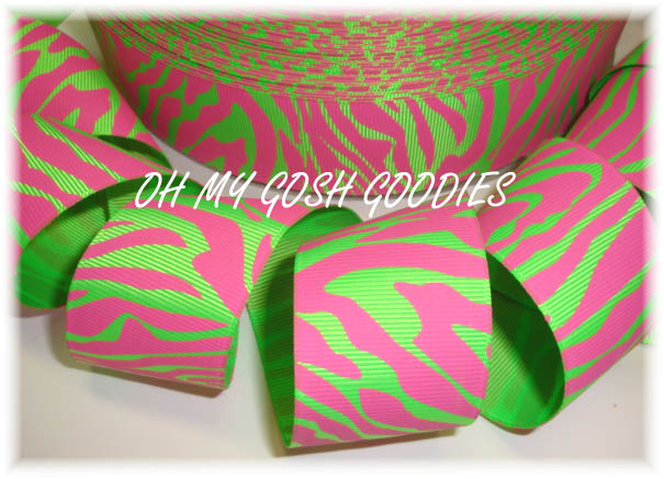 1.5 PINK LIME ZEBRA - 5 YARDS