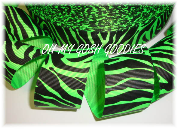1.5 LIME BLACK ZEBRA - 5 YARDS