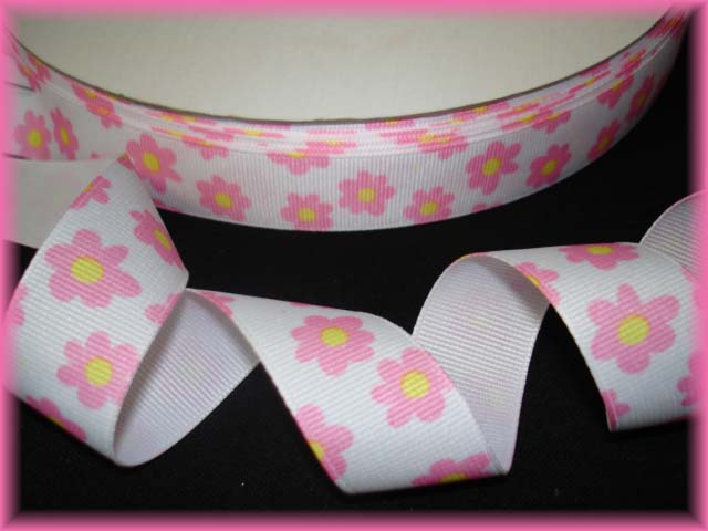 7/8 LAST ONE WHITE PINK BITTY FLOWERS - 5 YARDS