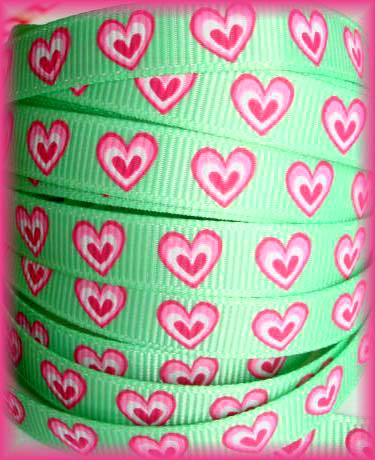 3/8 MINT PINK HEARTS  - 5 YARDS