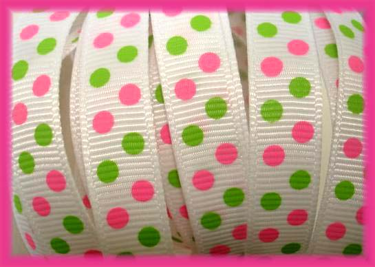 3/8 WHITE PINK LIME MINI DOTS - 5 YARDS