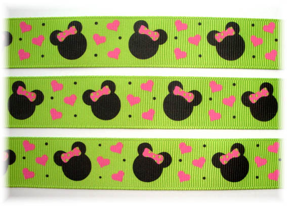7/8 CLASSIC MOUSE MINNIE LIME - 5 YARDS