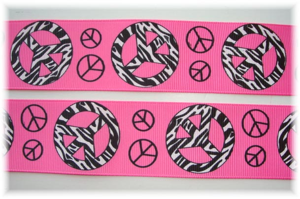 1.5 ZEBRA PEACE SIGN HOT PINK - 5 YARDS