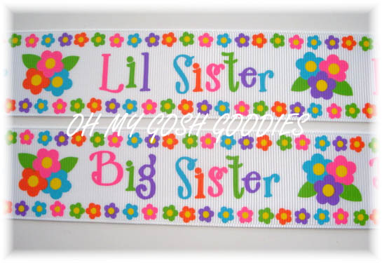 1.5 LITTLE / BIG SISTER FLOWERS RIBBON - 5 YARDS