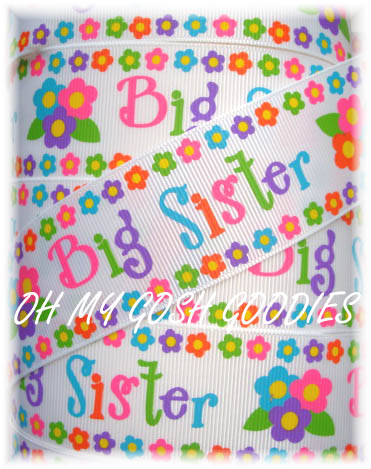 1.5 BIG SISTER FLOWERS RIBBON - 5 YARDS