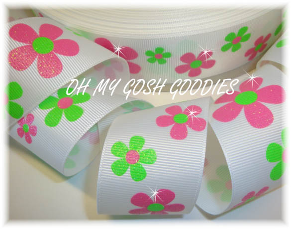 1.5 GLITTER FLOWERS PINK LIME - 5 YARDS