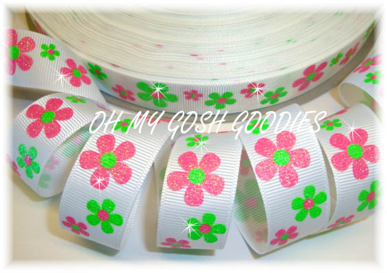 7/8 GLITTER FLOWERS PINK LIME - 5 YARDS